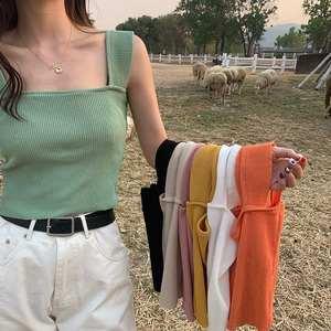 夏季韩版小清新纯色显瘦宽肩带针织吊带百搭小背心短款内搭上衣女