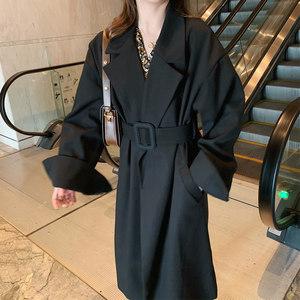 春秋新款风衣女中长款小个子赫本黑色西装外套大衣大码安娜家anna