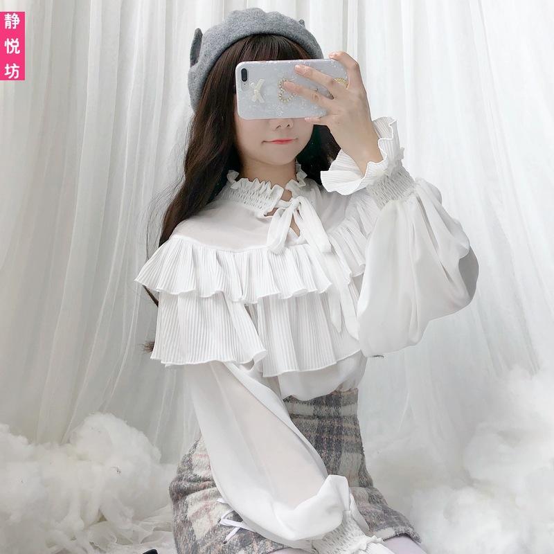 ハスの葉の辺のシフォンのランタンの袖の上着の長袖のlolitaのシャツの洛麗塔の日常の洋服の中で柔らかい妹に乗って底を打ちます。