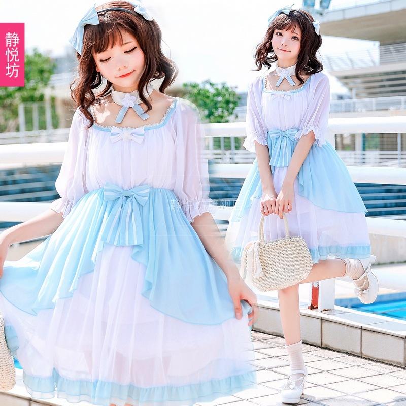 日本系少女OPワンピースパフェスリーブシフォンロリータドレスプリンセススカートロリータロリコン