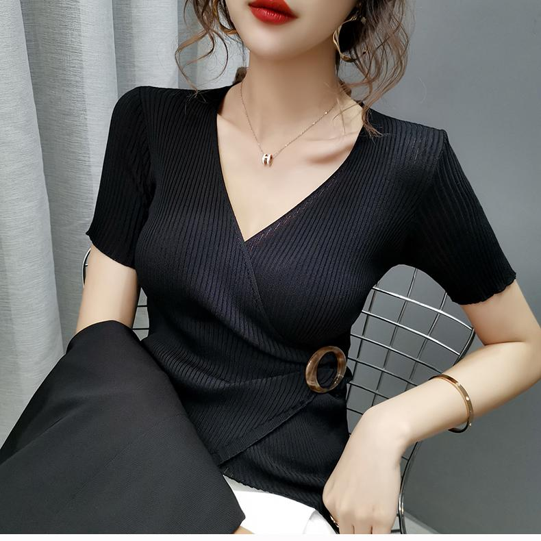 ? V-neck sexy cross ice silk short sleeve T-shirt for womens slim irregular thin Knitted Top
