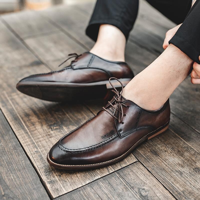 Authentic business dress casual leather shoes mens pure leather summer breathable British leather shoes Derby soft leather shoes