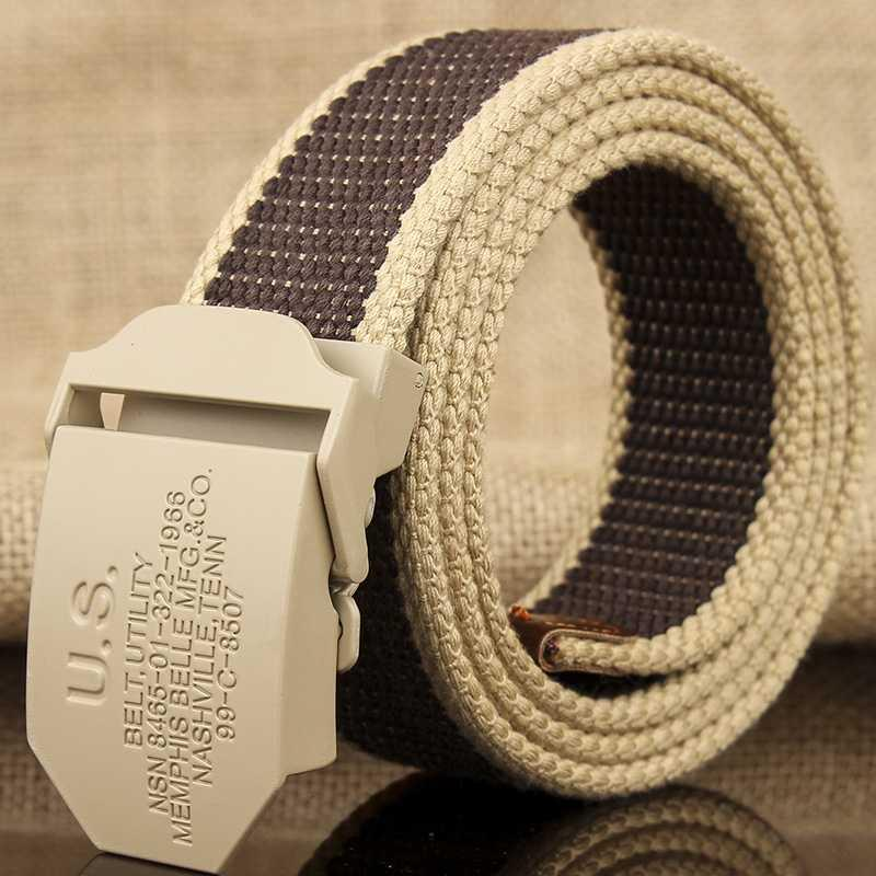 Canvas belt, male and female general fabric art student, youth jeans, casual simple belt with all kinds of needle buttons