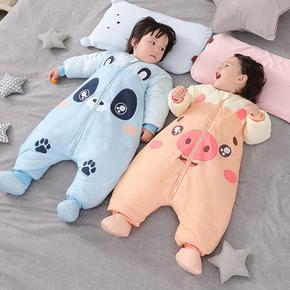 纱布睡袋婴儿秋冬分腿宝宝睡袋儿童防踢被冬季加厚春秋四季通用款