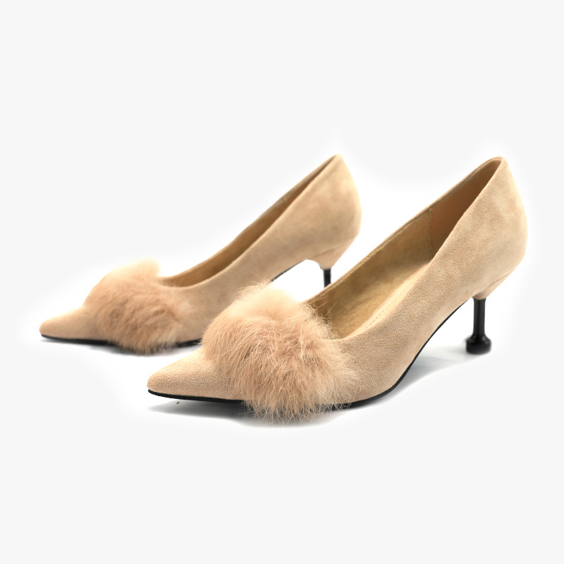 Mark&Moon 2020时尚高跟鞋秋季兔毛绒面细跟高跟鞋性感尖头单鞋