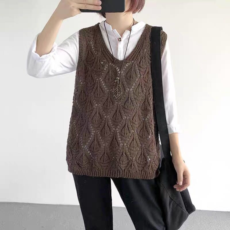Autumn 2020 new style of literature and art loose and thin V-neck hollowed out knitted vest womens sleeveless sweater jacket shoulder