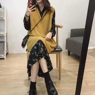 韩国2020春秋新款大码女装遮肚减龄毛衣韩版百搭宽松显瘦两件套装