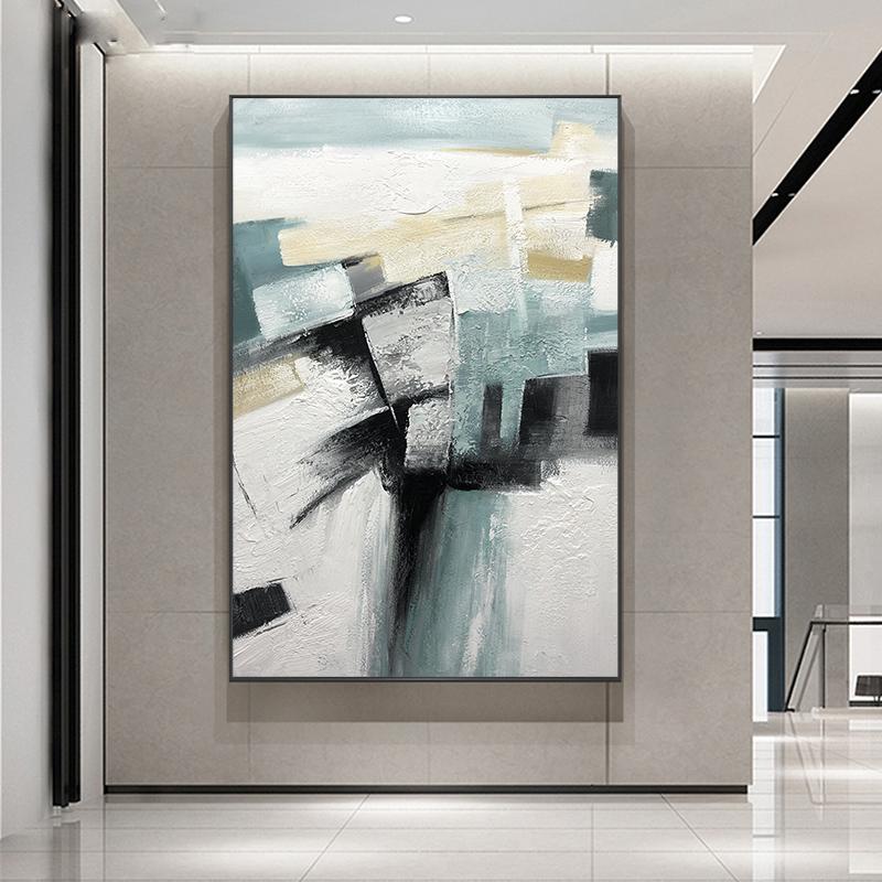 纯手绘油画北欧风格轻奢后现代挂画