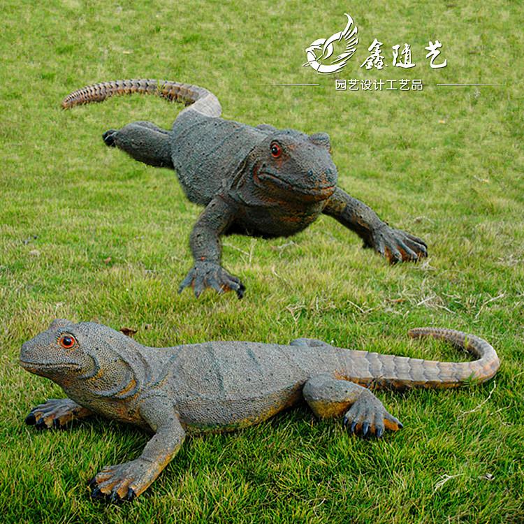 仿真蜥蜴摆件园林景观工艺品爬行模型原始生态小品设计动物
