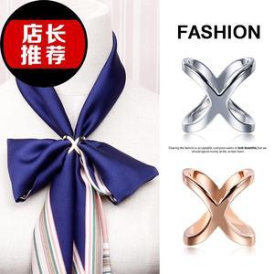 气质银色h丝巾扣两用女士1大气多用夹子配件围巾韩版文艺固定优雅
