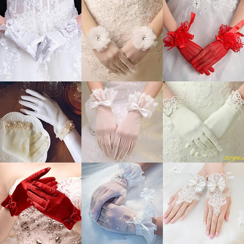 ?? Bridal Wedding Gloves Lace red white wedding hand Dress Gloves Wedding Gloves short long satin