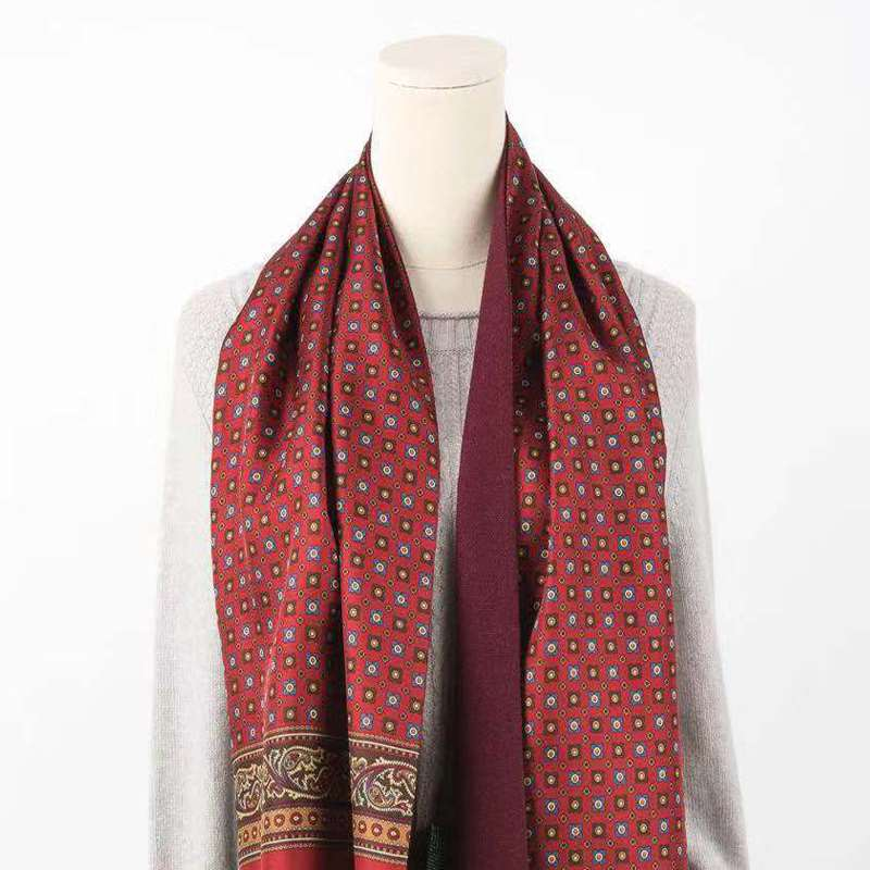 Orange new wool silk double side soft fashion travel wine red printing popular scarf autumn and winter men and women