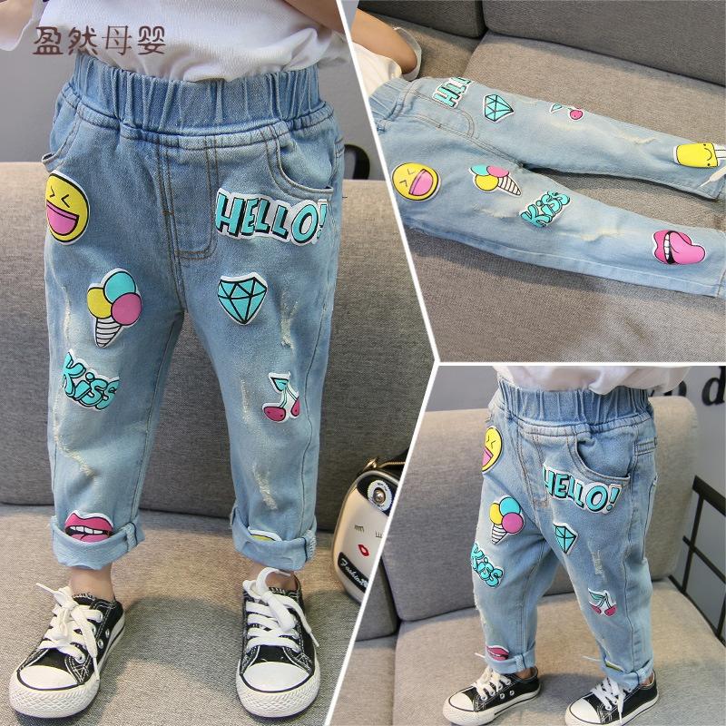 春夏季新款儿童笑脸牛仔裤2019韩版男女童修身裤淘宝童装小孩穿的