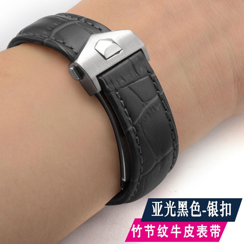 适用适配TAG泰格豪雅卡莱拉摩纳哥真皮表带 男款19 20mm手表配件
