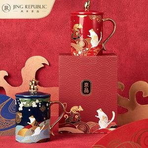 招财猫金鼠陶瓷中国风特色马克杯