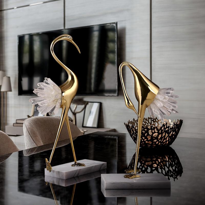 轻奢摆件铜鹤客厅书房办公室中式水晶全铜家居装饰品乔迁开业礼品