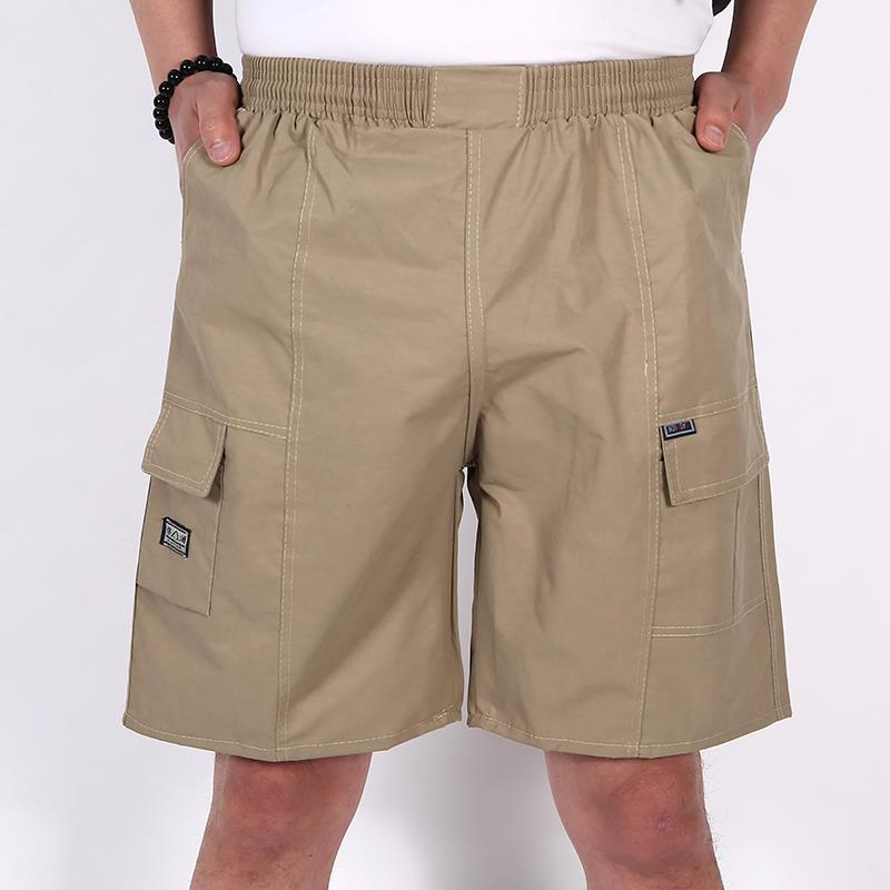 Dads middle-aged and elderly plus fat cool Capri Pants seven comfortable and loose summer thin beach mens extra large