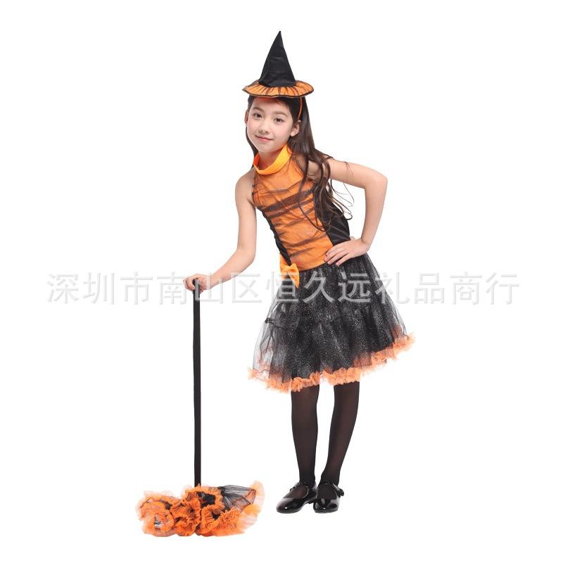 巫公主服装带帽子化装舞会巫婆表演服学校话剧演出服女万圣节儿童