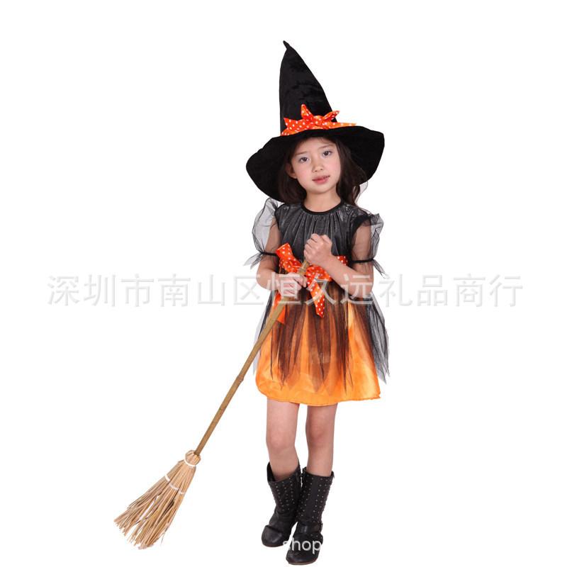 女巫派对表演服童角色扮演cosplay服装小巫婆演出服万圣节儿童