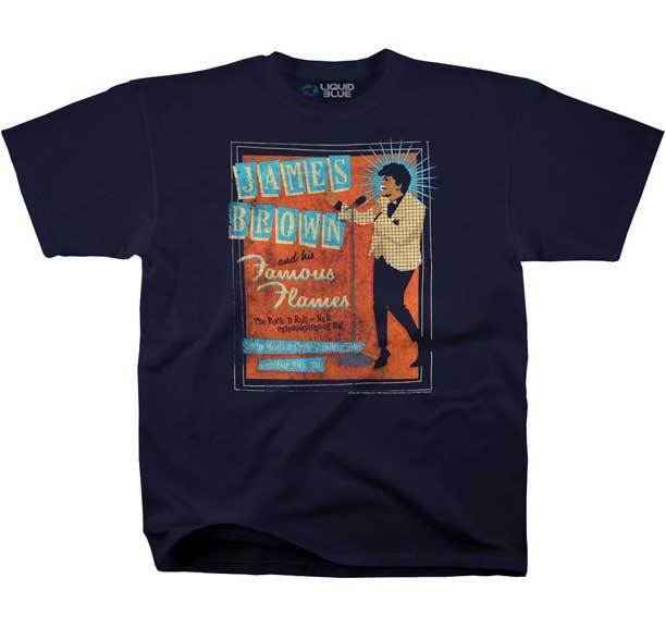 James Browns famous flame T-shirt m-2xl new official liquid blue product