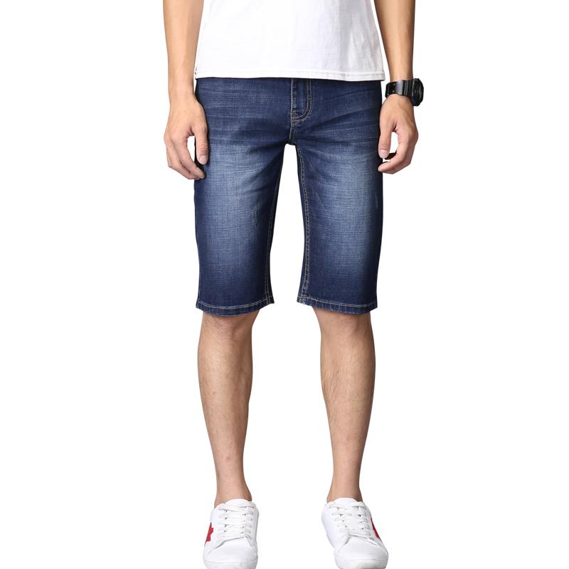 Men Denim Summer Shorts Stretch Slim Fit Knee Length Jeans