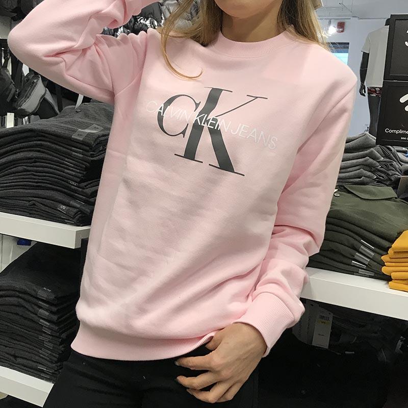 CK Calvin Klein2021新款男女同款时尚字母加绒保暖圆领套头卫衣