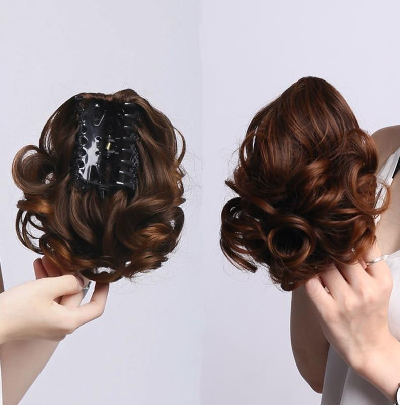 Net red artifact womens wig clip ponytail direct claw clip short long straight hair ponytail gradual change short ponytail