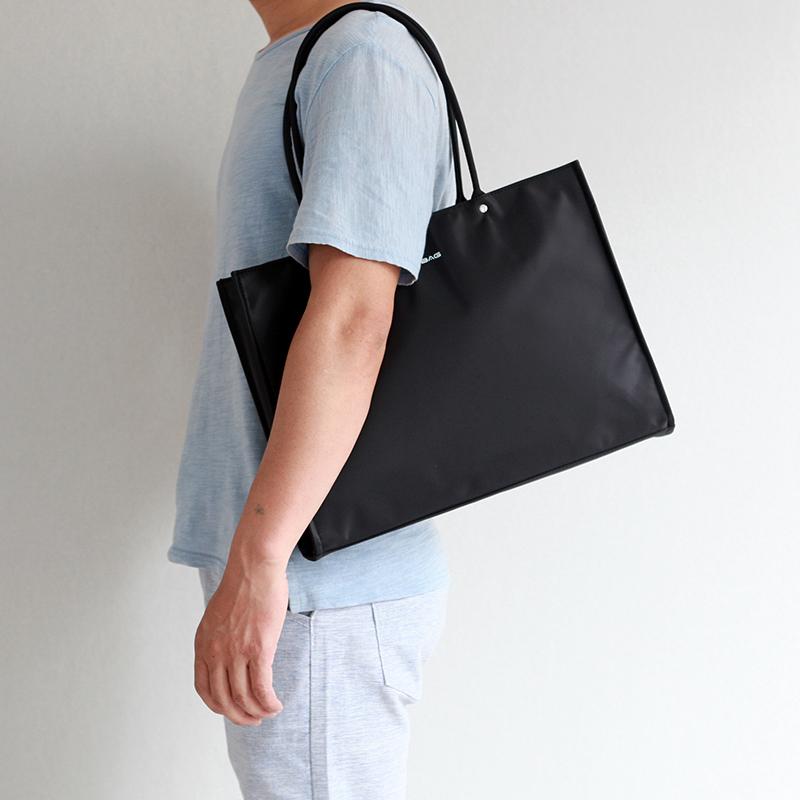 轻便手袋大容量手提包男包商务休闲文件包简约公文包横款黑色布