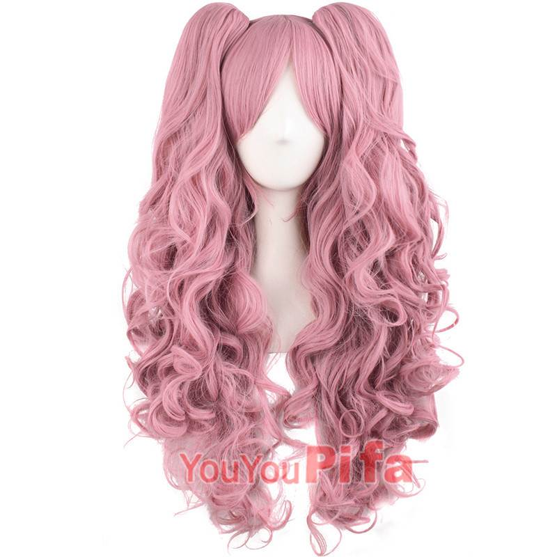 Cartoon Cosplay wig womens long curly net red Lori Lolita big wave wig set double horsetail hair