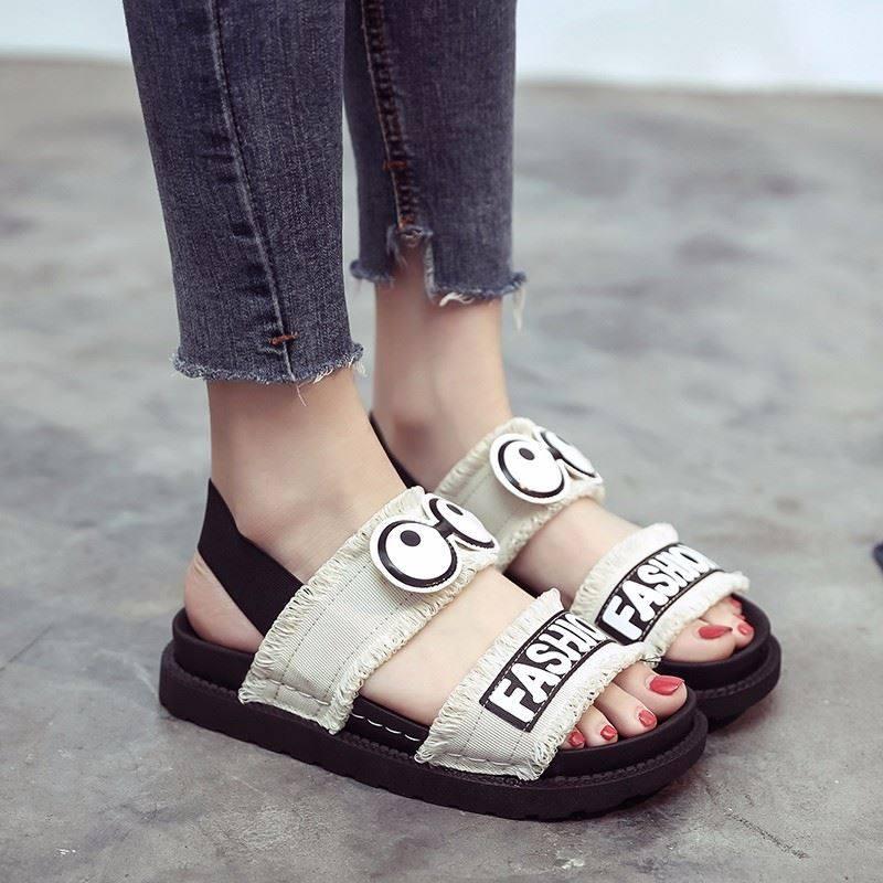 初中中学生小孩子鞋子女2019潮鞋单鞋夏季凉鞋透气大学生凉拖鞋
