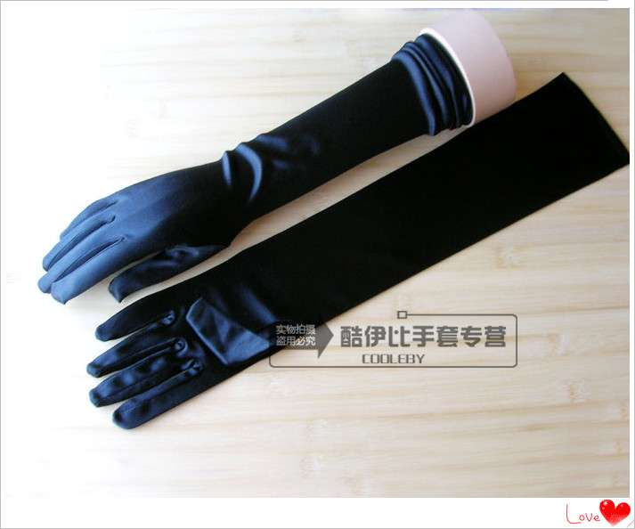 Womens Satin ultra thin gloves dinner dress wedding gloves bright cloth extended spring and autumn sun protection gloves for hosting