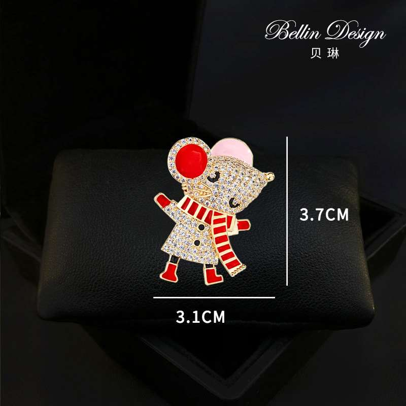 Cute little mouse Brooch Chinese Zodiac Brooch high grade sweater accessories autumn winter coat suit pin 3293