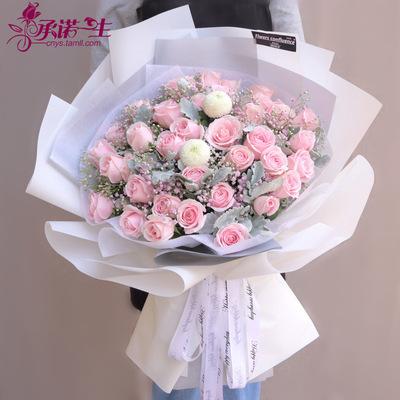 520情人节99朵红玫瑰花束生日鲜花同城速递惠州市惠城区配送上门