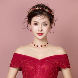 2020新品韩式新娘头饰发带礼服红色三件套森系仙美结婚敬酒服发饰