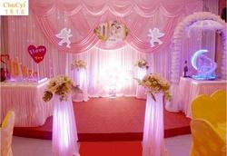 婚庆背景纱幔新款婚礼舞台背景布幔装饰酒店婚礼现场布置用品纱幔