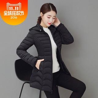 羽绒女孩子穿的厚棉衣女冬季中长款轻薄型羽绒棉服新款韩版修身女