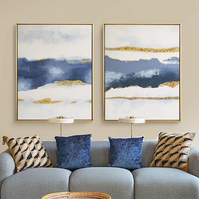 利尊|北欧现代简约抽象手绘油画 客厅玄关轻奢装饰画餐厅挂画壁画(非品牌)