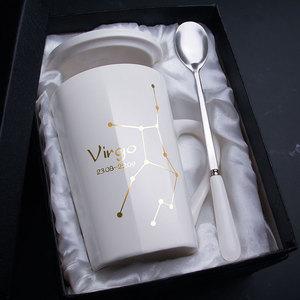 创意个性陶瓷马克杯带盖勺杯子潮流情侣喝水杯家用咖啡杯男女茶杯
