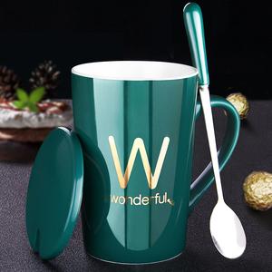 創意個性陶瓷馬克杯帶蓋勺喝水杯子潮流情侶男女家用牛奶咖啡茶杯