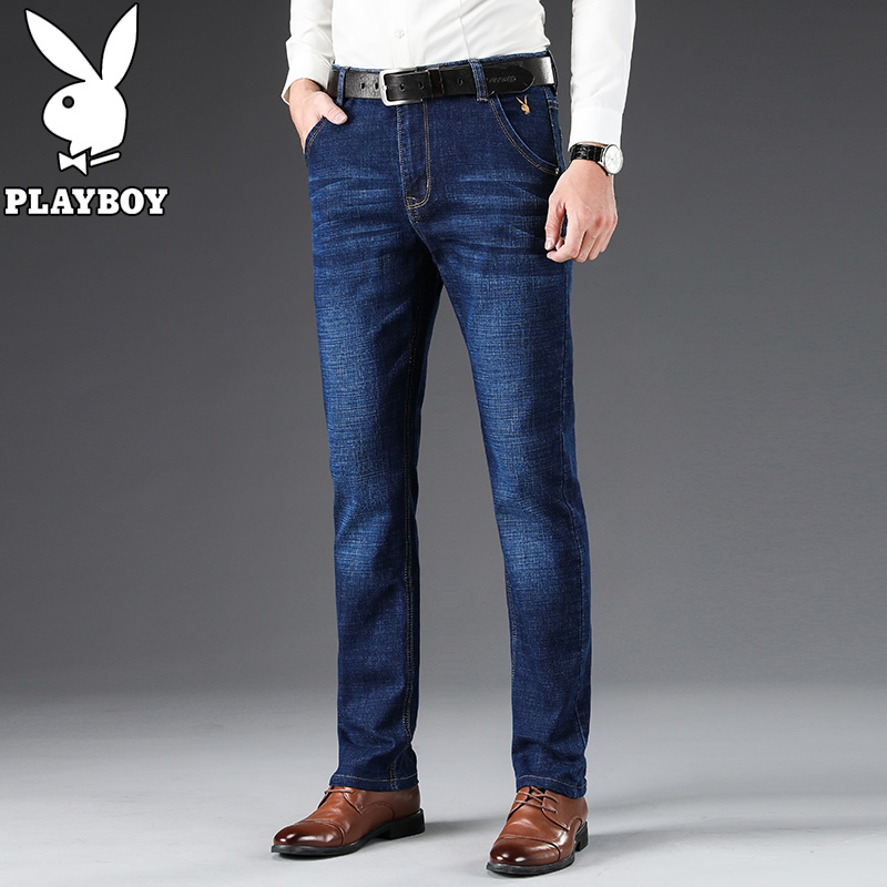 Mens jeans fashion in spring and autumn 2020 dad straight pants middle aged business casual mens pants