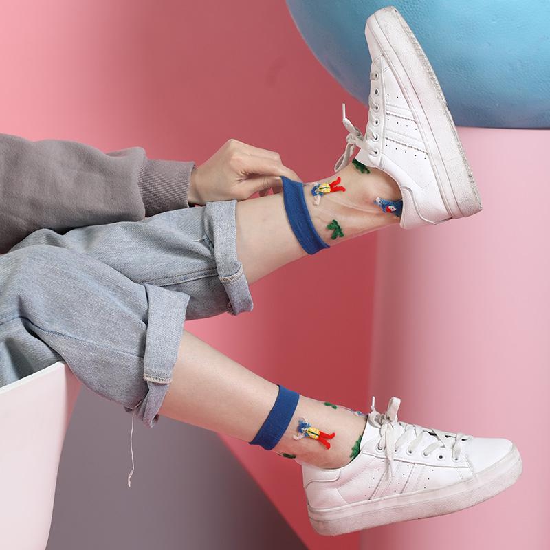 哈啾盒子夏季薄款水晶玻璃丝袜卡通可爱袜中筒袜透明蕾丝袜子女