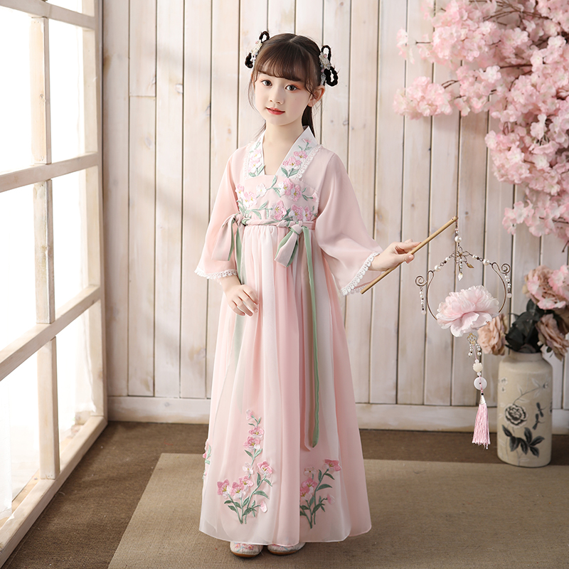 Girls' ancient style super fairy Hanfu ruskirt children's ancient costume Tangzhuang Baby Dress Girls' Chinese style children's summer Costume