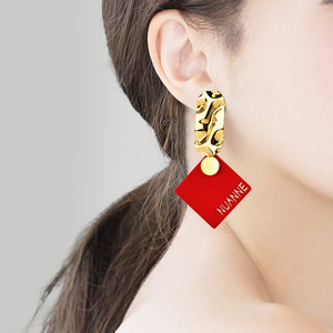 2021新款潮时尚个性夸张红色女耳坠