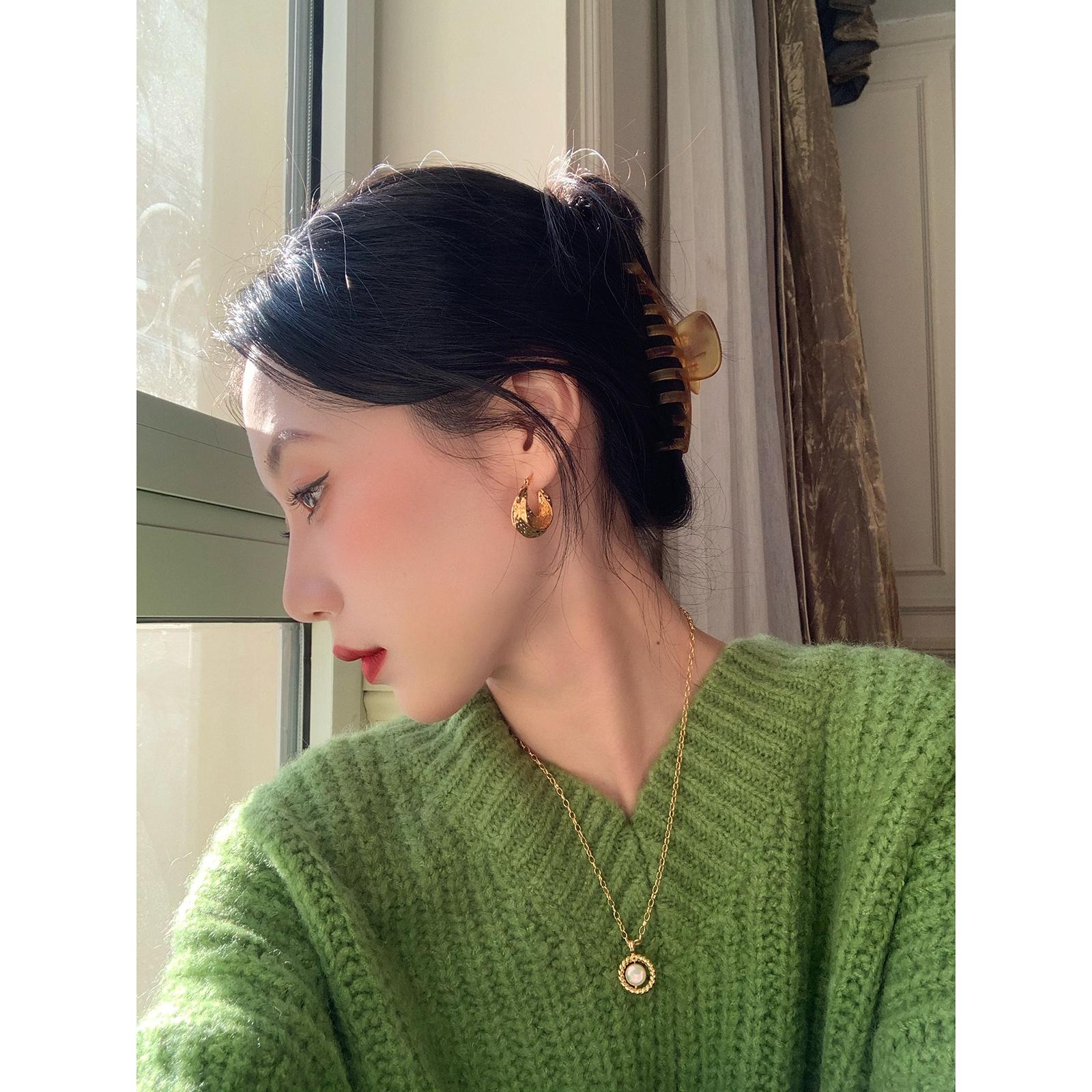 【鹭青一ACC】 印·记 做旧环形铜镀18K真金耳环 耳饰