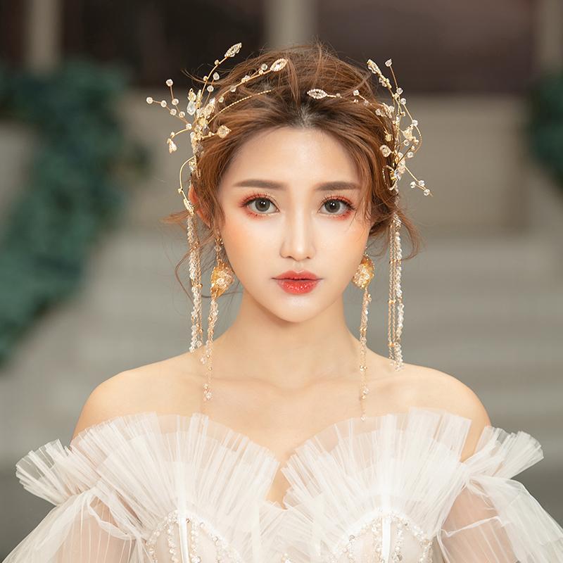 假一赔三韩式新娘头饰婚纱森系仙美超仙发箍