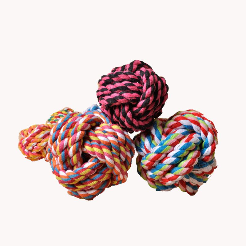 Cat and dog bite Ball Dog ball sound resistant ball with dog cotton rope cat dog toy bite molars young rope shake toy