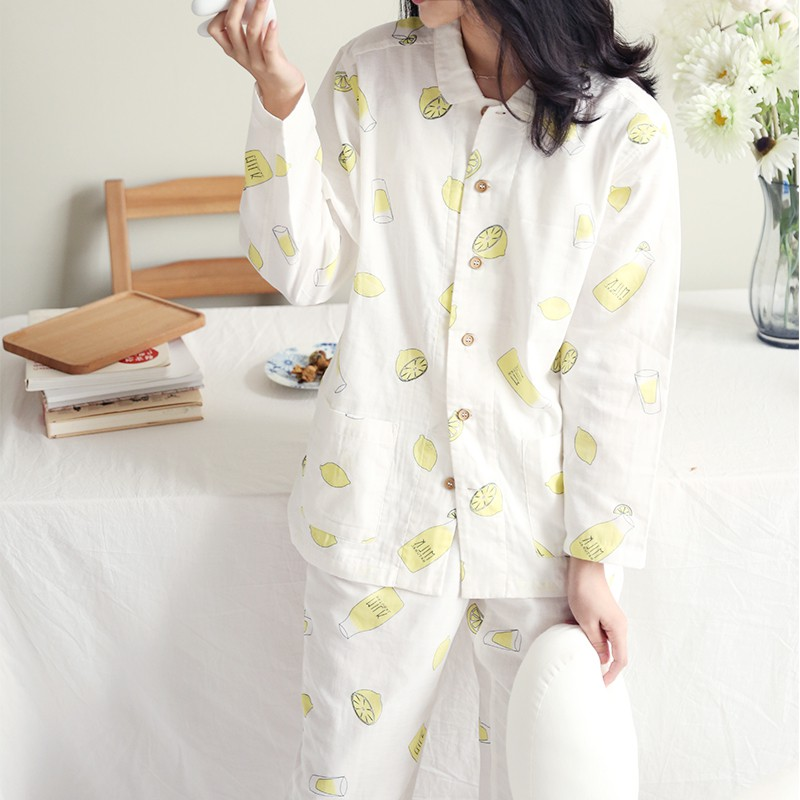Net red double yarn cartoon lemon milk bottle home suit pajamas pajamas two pieces of breathable soft cotton
