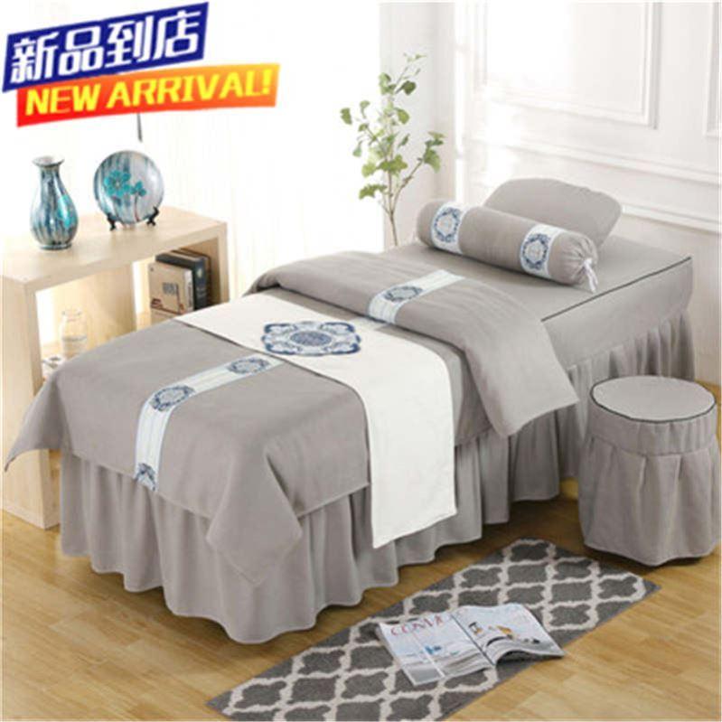 床套欧式纯棉棉麻红四件套纯色按摩院美容床罩美容院小院全棉套绒