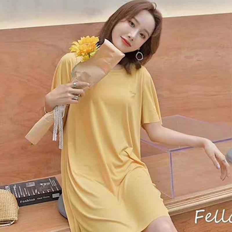 夏日舒适可咸可甜可外穿家居服型简约清新纯色文艺优雅连衣裙睡裙
