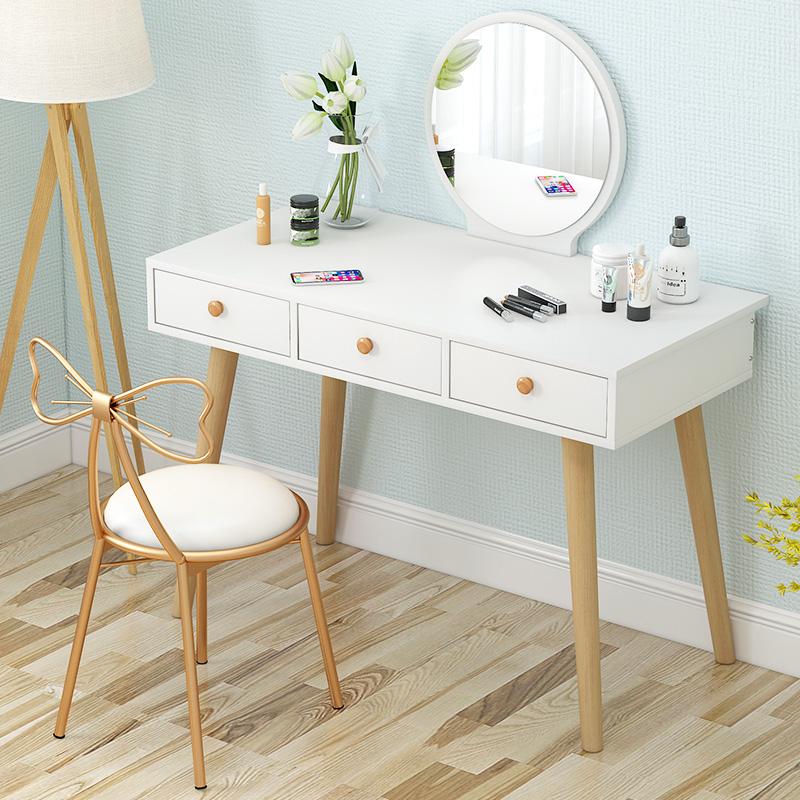 日式彩妆卧室梳妆台化妆桌多功能置物柜梳妆镜美甲店组合酒店小桌